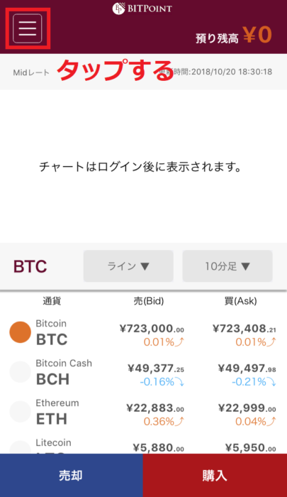 BitpointLite メニュー