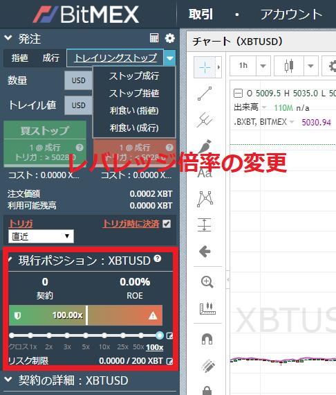 BitMex-レバレッジ取引の倍率変更