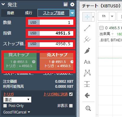 BitMex-ストップ指値_発注画面