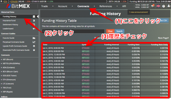 BitMEX - Funding History Table